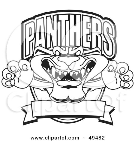 Royalty-Free (RF) Clipart Illustration of an Outline Of A Panther Character Mascot Logo by Toons4Biz
