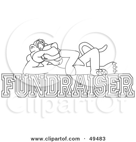 Royalty-Free (RF) Clipart Illustration of an Outline Of A Panther Character Mascot Reclined on Fundraiser Text by Toons4Biz