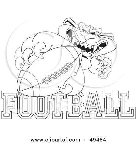Outline of a panther character mascot with basketball text for Panthers football coloring pages