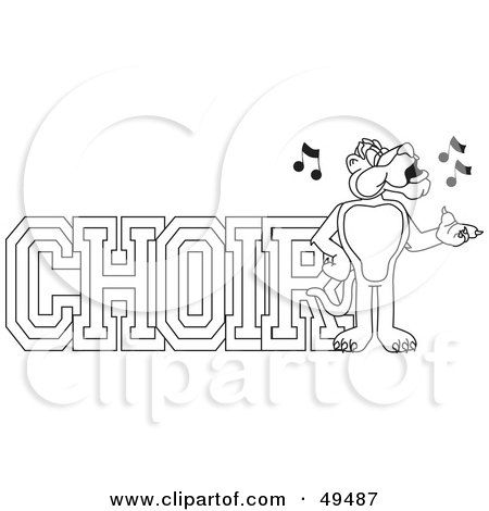 Royalty-Free (RF) Clipart Illustration of an Outline Of A Panther Character Mascot With Choir Text by Toons4Biz