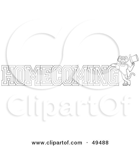 Royalty-Free (RF) Clipart Illustration of an Outline Of A Panther Character Mascot With Homecoming Text by Toons4Biz