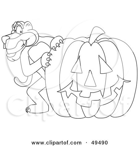 Royalty-Free (RF) Clipart Illustration of an Outline Of A Panther Character Mascot With a Pumpkin by Toons4Biz
