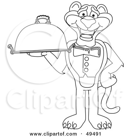 Royalty-Free (RF) Clipart Illustration of an Outline Of A Panther Character Mascot Holding a Platter by Toons4Biz