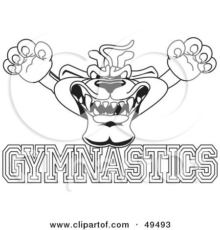 Royalty-Free (RF) Clipart Illustration of an Outline Of A Panther Character Mascot With Gymnastics Text by Toons4Biz