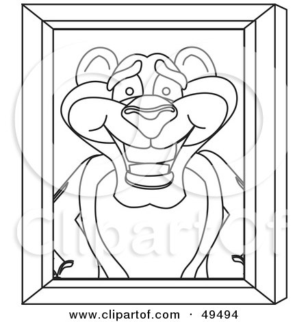 Royalty-Free (RF) Clipart Illustration of an Outline Of A Panther Character Mascot Portrait by Toons4Biz