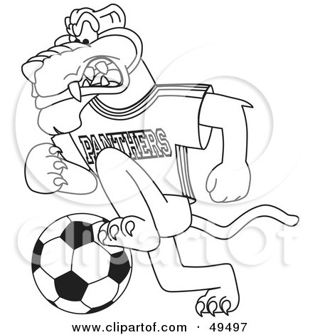 Royalty-Free (RF) Clipart Illustration of an Outline Of A Panther Character Mascot Playing Soccer by Toons4Biz