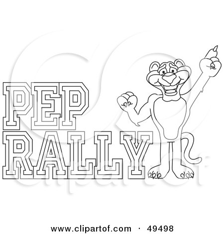 Royalty-Free (RF) Clipart Illustration of an Outline Of A Panther Character Mascot With Pep Rally Text by Toons4Biz