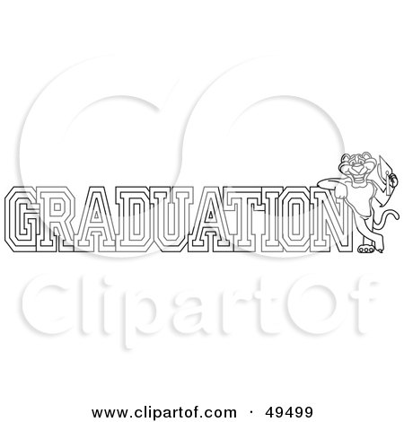 Royalty-Free (RF) Clipart Illustration of an Outline Of A Panther Character Mascot With Graduation Text by Toons4Biz