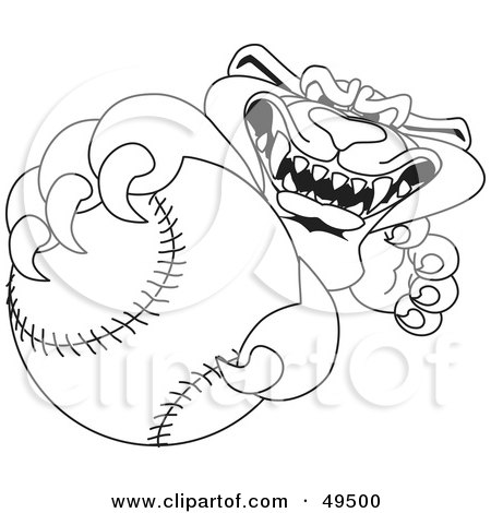Royalty-Free (RF) Clipart Illustration of an Outline Of A Panther Character Mascot Grabbing a Baseball by Toons4Biz