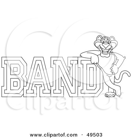 Royalty-Free (RF) Clipart Illustration of an Outline Of A Panther Character Mascot With Band Text by Toons4Biz