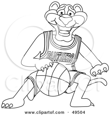 Royalty-Free (RF) Clipart Illustration of an Outline Of A Panther Character Mascot Dribbling a Basketball by Toons4Biz