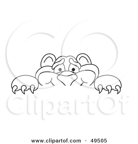 Royalty-Free (RF) Clipart Illustration of an Outline Of A Panther Character Mascot Looking Over a Surface by Toons4Biz