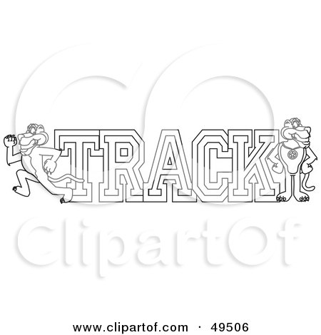 Royalty-Free (RF) Clipart Illustration of an Outline Of A Panther Character Mascot With Track Text by Toons4Biz