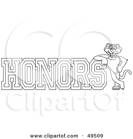 Royalty-Free (RF) Clipart Illustration of an Outline Of A Panther Character Mascot With Honors Text by Toons4Biz