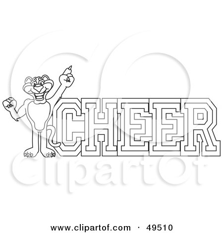 Royalty-Free (RF) Clipart Illustration of an Outline Of A Panther Character Mascot With Cheer Text by Toons4Biz