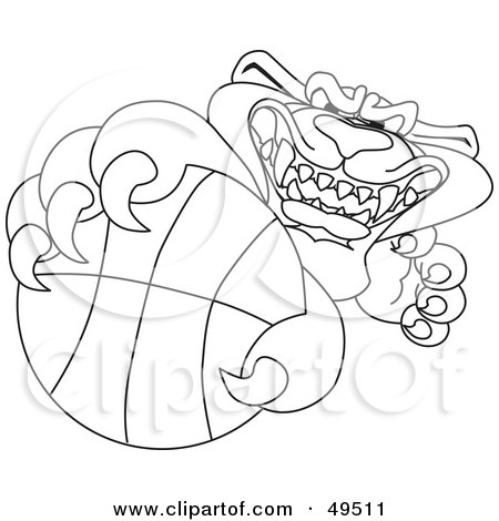 Royalty-Free (RF) Clipart Illustration of an Outline Of A Panther Character Mascot Grabbing a Basketball by Toons4Biz