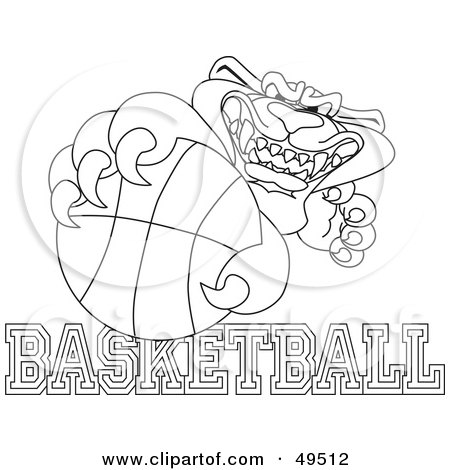 Royalty-Free (RF) Clipart Illustration of an Outline Of A Panther Character Mascot With Basketball Text by Toons4Biz