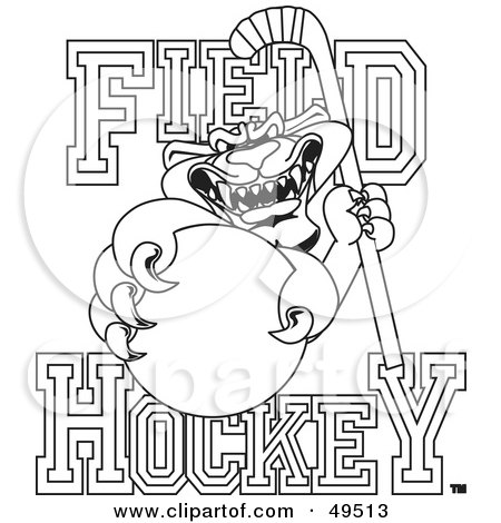 Royalty-Free (RF) Clipart Illustration of an Outline Of A Panther Character Mascot With Field Hockey Text by Toons4Biz