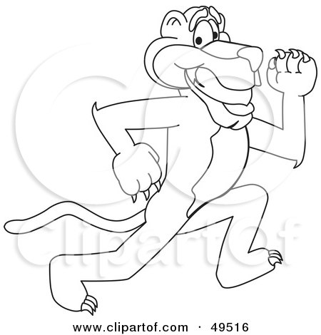 Royalty-Free (RF) Clipart Illustration of an Outline Of A Panther Character Mascot Running by Toons4Biz