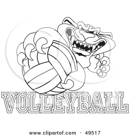 Royalty-Free (RF) Clipart Illustration of an Outline Of A Panther Character Mascot With Volleyball Text by Toons4Biz