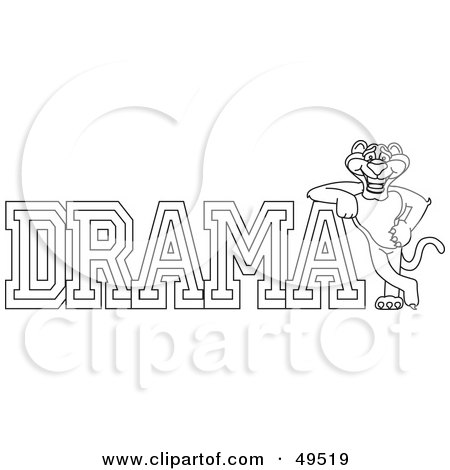 Royalty-Free (RF) Clipart Illustration of an Outline Of A Panther Character Mascot With Drama Text by Toons4Biz