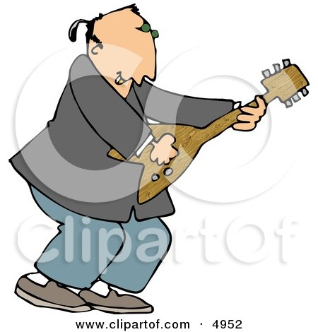 Old Rocker Playing a Guitar Clipart by djart