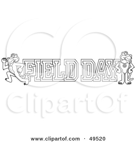 Royalty-Free (RF) Clipart Illustration of an Outline Of A Panther Character Mascot With Field Day Text by Toons4Biz
