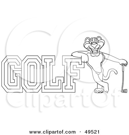 Royalty-Free (RF) Clipart Illustration of an Outline Of A Panther Character Mascot With Golf Text by Toons4Biz