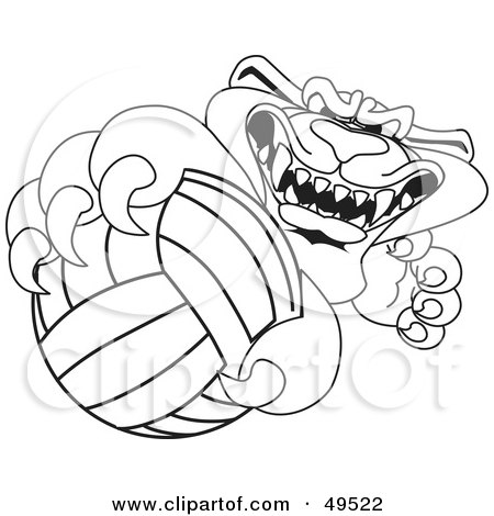 Royalty-Free (RF) Clipart Illustration of an Outline Of A Panther Character Mascot Grabbing a Volleyball by Toons4Biz