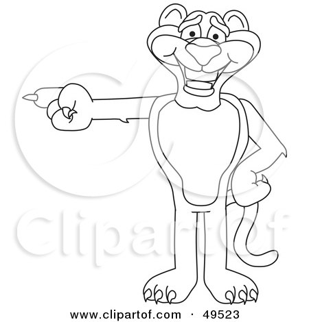 Royalty-Free (RF) Clipart Illustration of an Outline Of A Panther Character Mascot Pointing Left by Toons4Biz