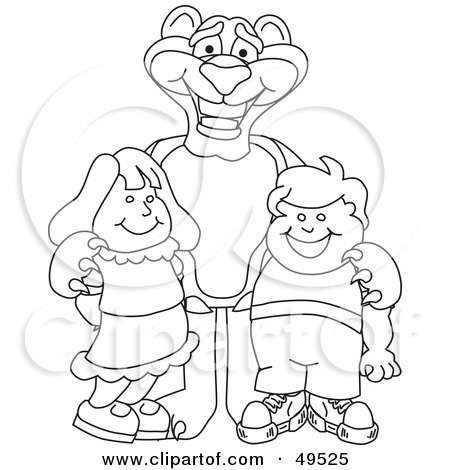 Royalty-Free (RF) Clipart Illustration of an Outline Of A Panther Character Mascot With Children by Toons4Biz