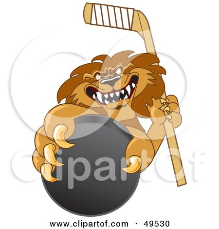 Royalty-Free (RF) Clipart Illustration of a Lion Character Mascot Grabbing a Hockey Puck by Toons4Biz