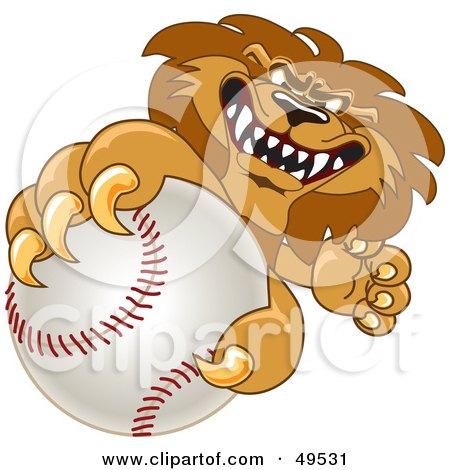 Royalty-Free (RF) Clipart Illustration of a Lion Character Mascot Grabbing a Baseball by Toons4Biz