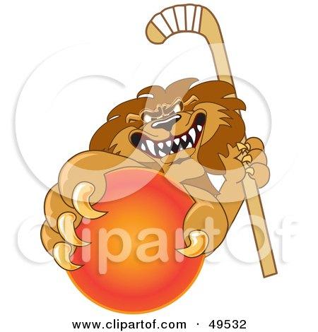Royalty-Free (RF) Clipart Illustration of a Lion Character Mascot Grabbing a Hockey Ball by Toons4Biz