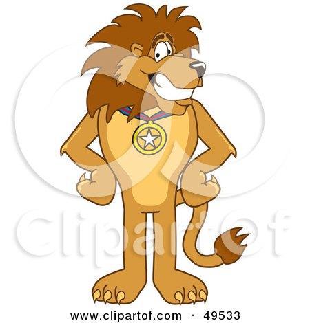 Royalty-Free (RF) Clipart Illustration of a Lion Character Mascot Wearing a Medal by Toons4Biz