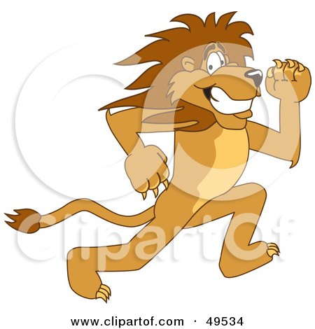 Royalty-Free (RF) Clipart Illustration of a Lion Character Mascot Running by Toons4Biz