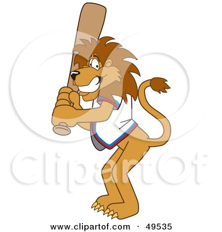 Royalty-Free (RF) Clipart Illustration of a Lion Character Mascot Batting by Toons4Biz