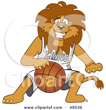 Royalty-Free (RF) Clipart Illustration of a Lion Character Mascot Dribbling a Basketball by Toons4Biz