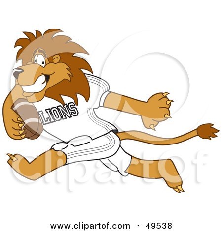 Royalty-Free (RF) Clipart Illustration of a Lion Character Mascot Playing Football by Toons4Biz