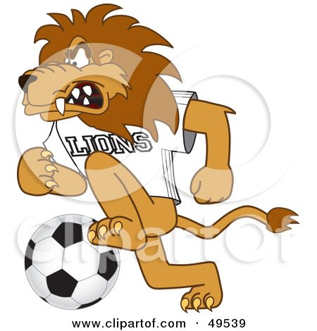 Royalty-Free (RF) Clipart Illustration of a Lion Character Mascot Playing Soccer by Toons4Biz