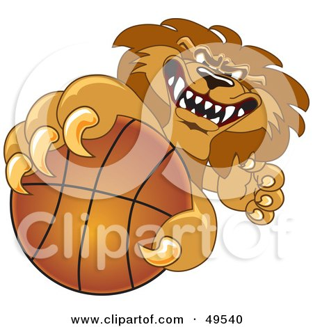Royalty-Free (RF) Clipart Illustration of a Lion Character Mascot Grabbing a Basketball by Toons4Biz