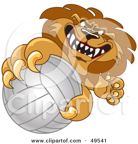 Royalty-Free (RF) Clipart Illustration of a Lion Character Mascot Grabbing a Volleyball by Toons4Biz