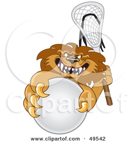 Royalty-Free (RF) Clipart Illustration of a Lion Character Mascot Playing Lacrosse by Toons4Biz
