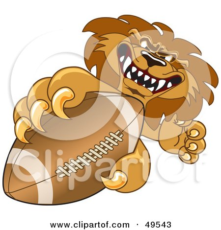 Royalty-Free (RF) Clipart Illustration of a Lion Character Mascot Grabbing a Football by Toons4Biz