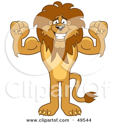 Royalty-Free (RF) Clipart Illustration of a Lion Character Mascot Flexing by Toons4Biz