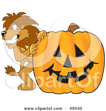 Royalty-Free (RF) Clipart Illustration of a Lion Character Mascot With a Pumpkin by Toons4Biz