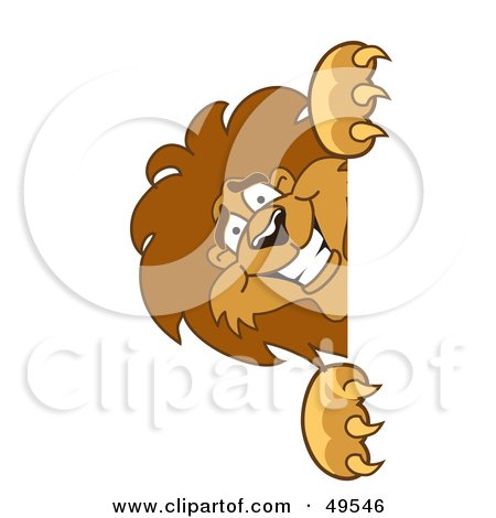 Royalty-Free (RF) Clipart Illustration of a Lion Character Mascot Peeking by Toons4Biz