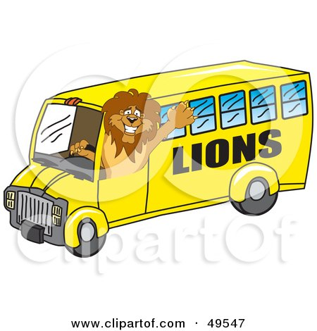 Royalty-Free (RF) Clipart Illustration of a Lion Character Mascot School Bus Driver by Toons4Biz
