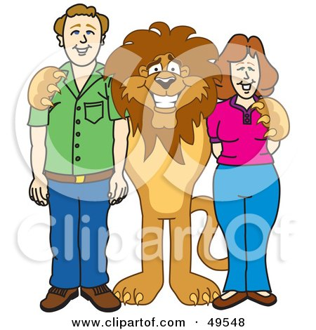 Royalty-Free (RF) Clipart Illustration of a Lion Character Mascot With Adults by Toons4Biz