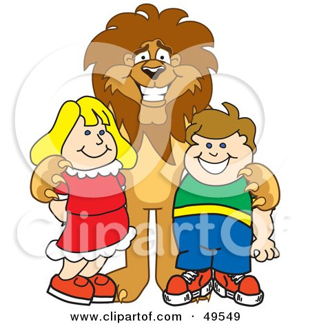Royalty-Free (RF) Clipart Illustration of a Lion Character Mascot With Students by Toons4Biz